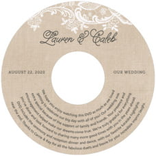 Burlap & Lace wedding CD/DVD labels