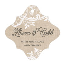 Burlap & Lace fancy diamond hang tags