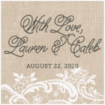 Burlap & Lace Square Label In Mocha