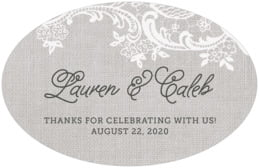 Burlap & Lace large oval labels
