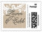 Burlap & Lace wedding postage stamps