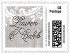 Burlap & Lace small postage stamps