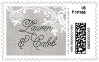 Burlap & Lace large postage stamps
