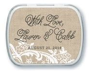 Burlap & Lace wedding mint tins