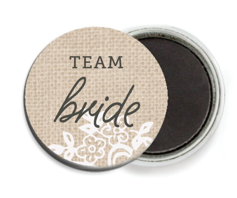 custom button magnets - mocha - burlap & lace (set of 6)