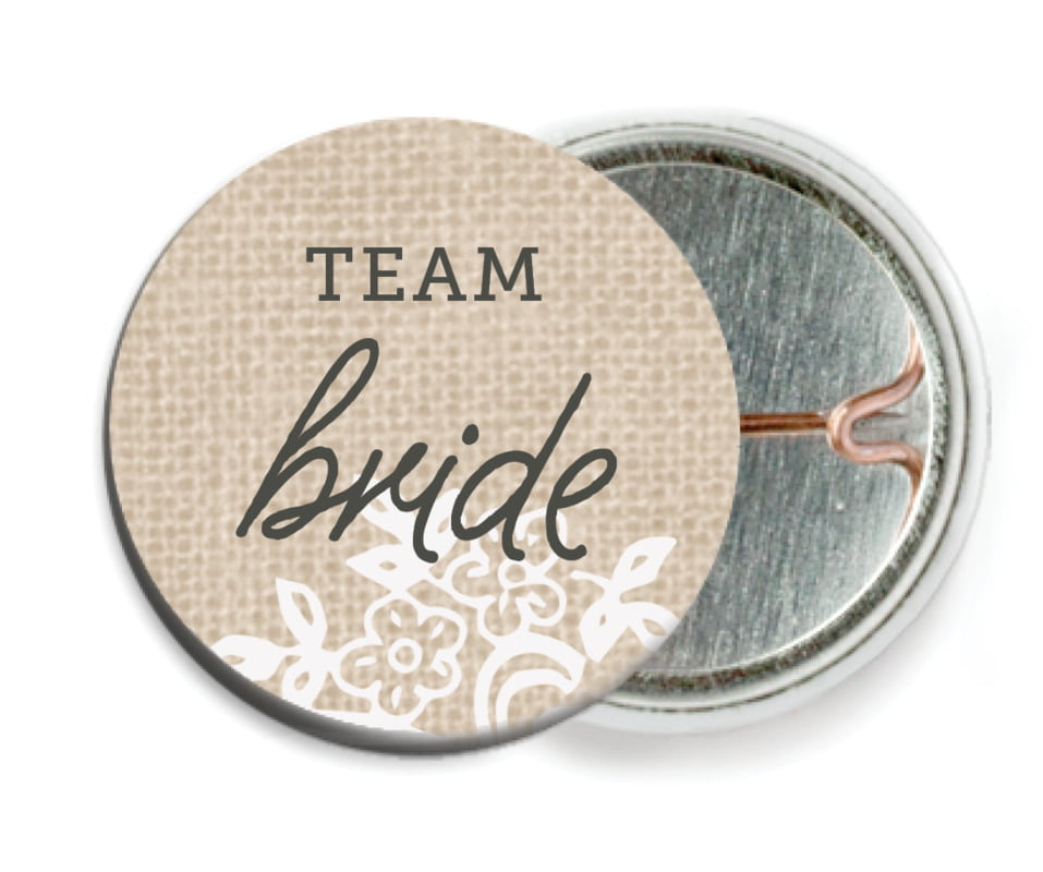 custom pin back buttons - mocha - burlap & lace (set of 6)