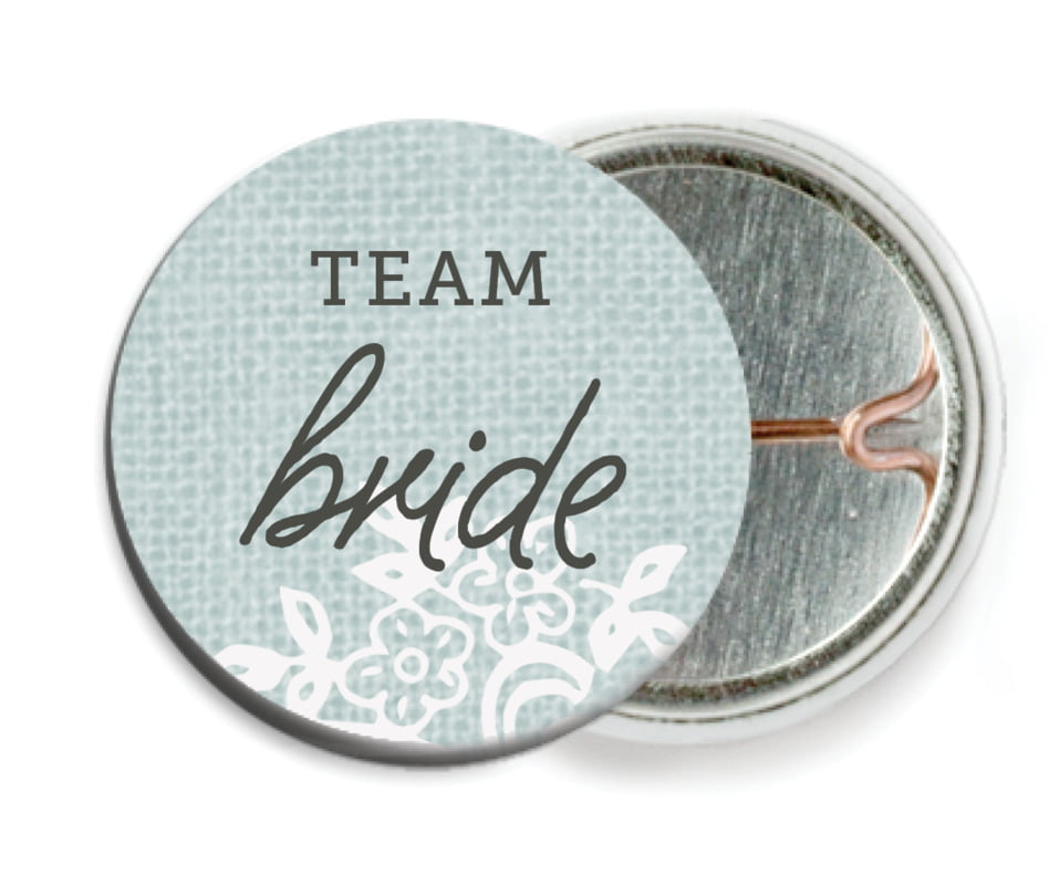 custom pin back buttons - sea glass - burlap & lace (set of 6)