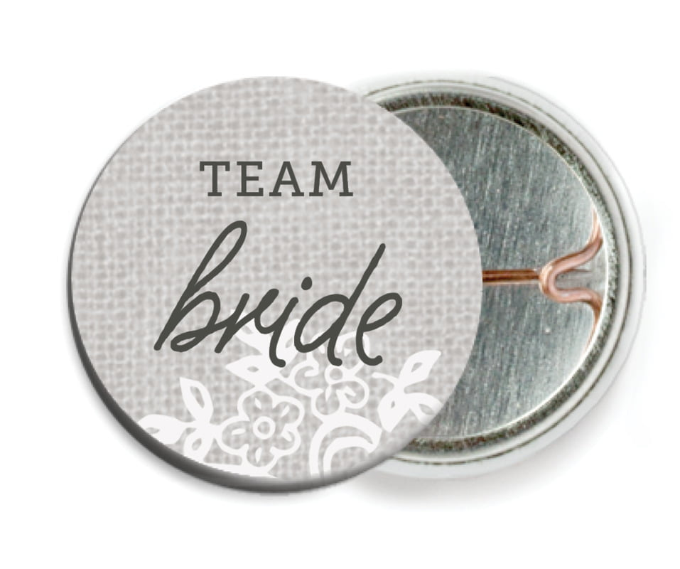 custom pin back buttons - stone - burlap & lace (set of 6)