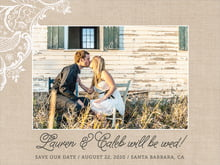 custom save-the-date cards - mocha - burlap & lace (set of 10)