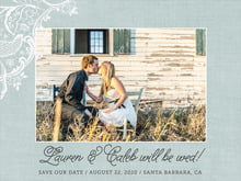 custom save-the-date cards - sea glass - burlap & lace (set of 10)