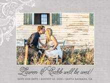 custom save-the-date cards - stone - burlap & lace (set of 10)