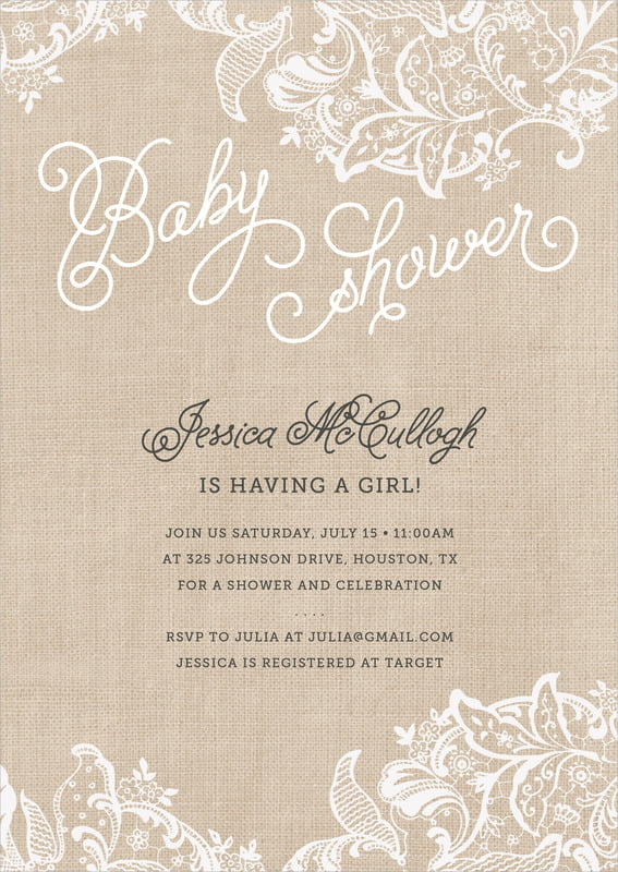baby shower invitations - mocha - burlap & lace (set of 10)
