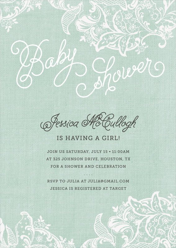 cards,Baby Shower Invitations - Jade - Burlap & Lace - $19.90