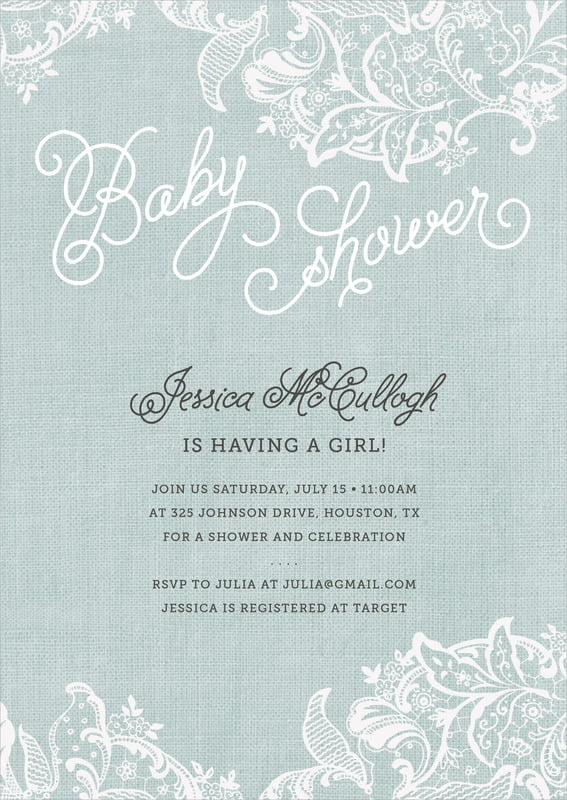 baby shower invitations - sea glass - burlap & lace (set of 10)