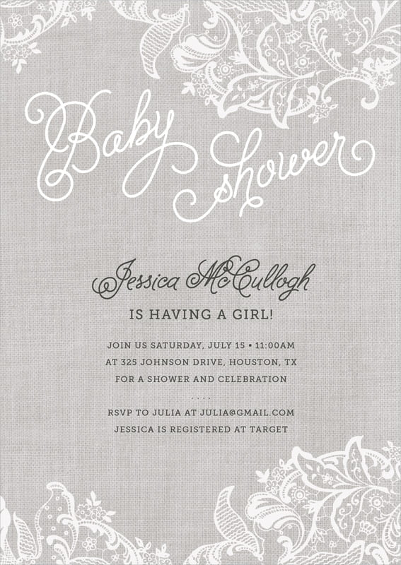 baby shower invitations - stone - burlap & lace (set of 10)