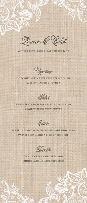 custom menus - mocha - burlap & lace (set of 10)