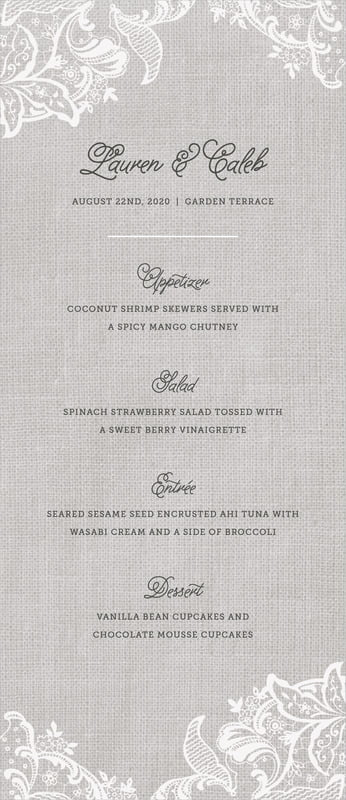 custom menus - stone - burlap & lace (set of 10)