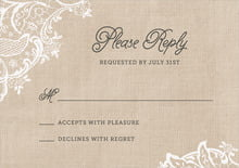 custom response cards - mocha - burlap & lace (set of 10)