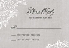 custom response cards - stone - burlap & lace (set of 10)