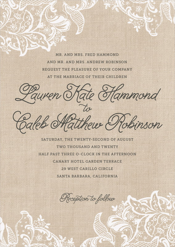 custom invitations - mocha - burlap & lace (set of 10)