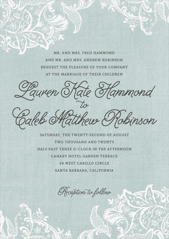custom invitations - sea glass - burlap & lace (set of 10)