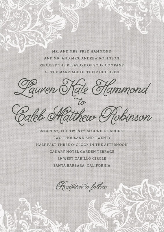custom invitations - stone - burlap & lace (set of 10)