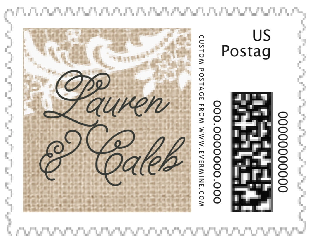 small custom postage stamps - mocha - burlap & lace (set of 20)