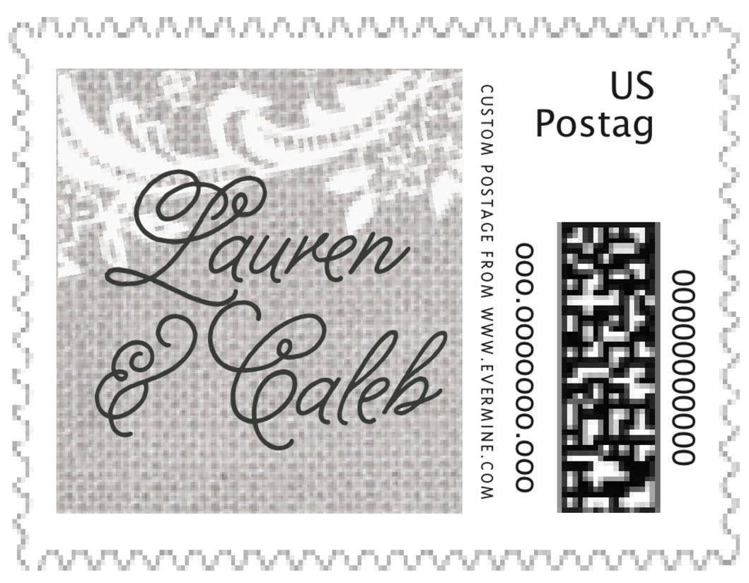 small custom postage stamps - stone - burlap & lace (set of 20)