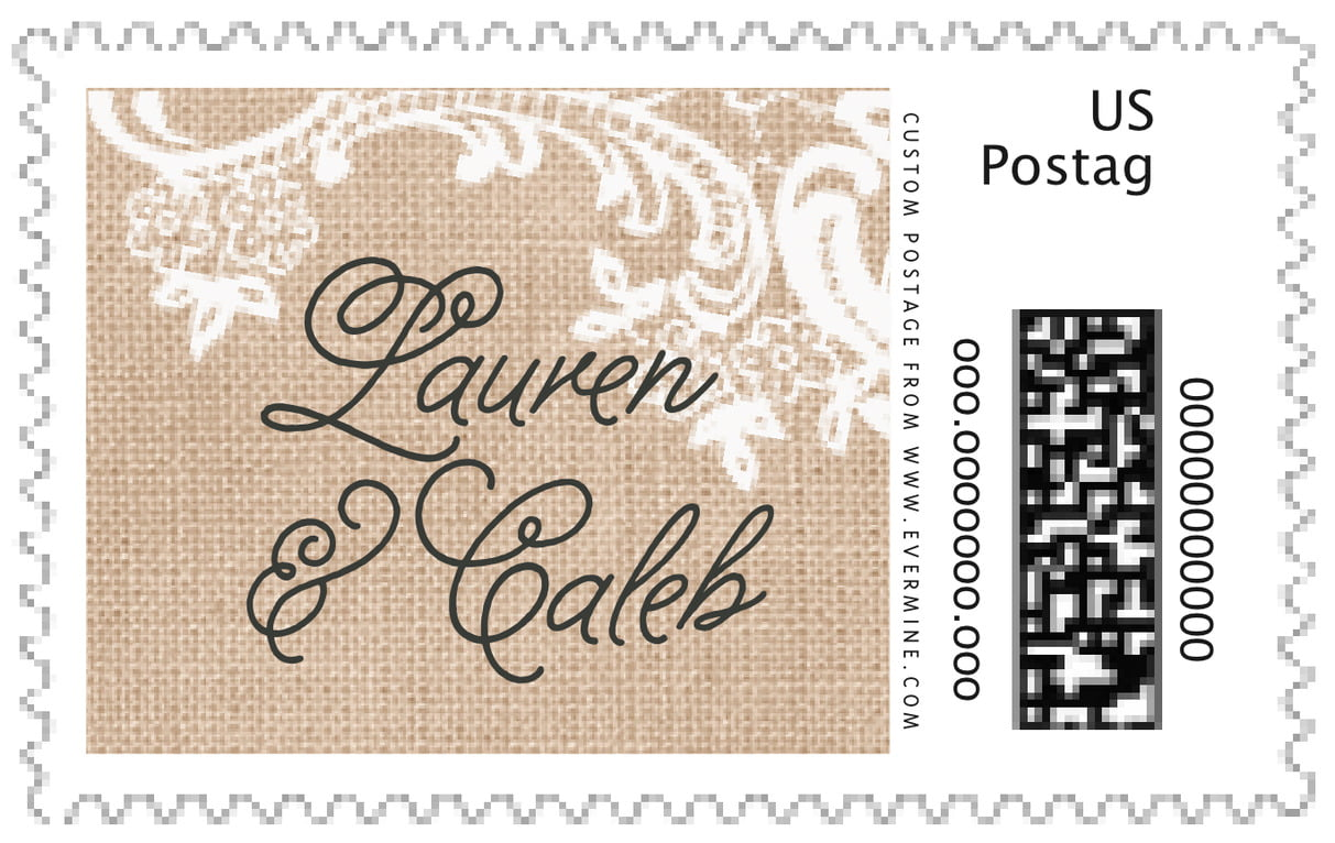 custom large postage stamps - mocha - burlap & lace (set of 20)