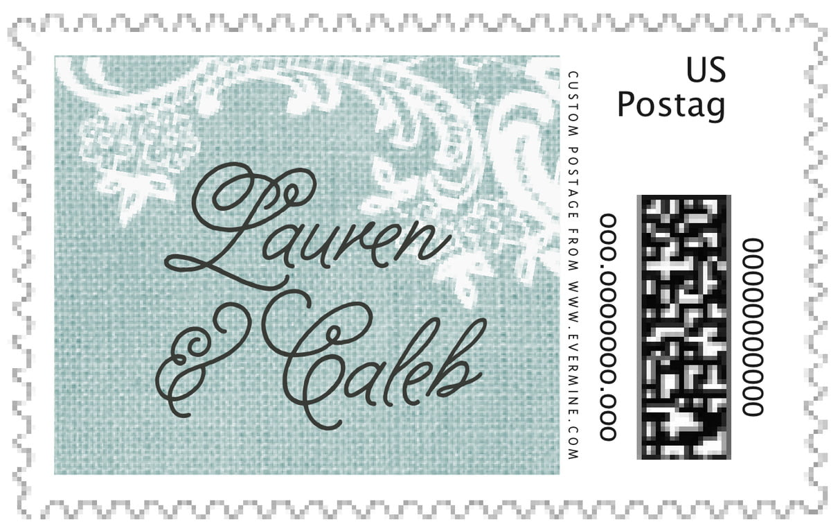 custom large postage stamps - sea glass - burlap & lace (set of 20)