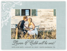 Burlap & Lace wedding save the date postcards