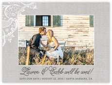 Burlap & Lace save the date cards