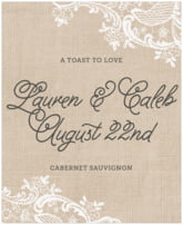 Burlap & Lace wedding wine labels