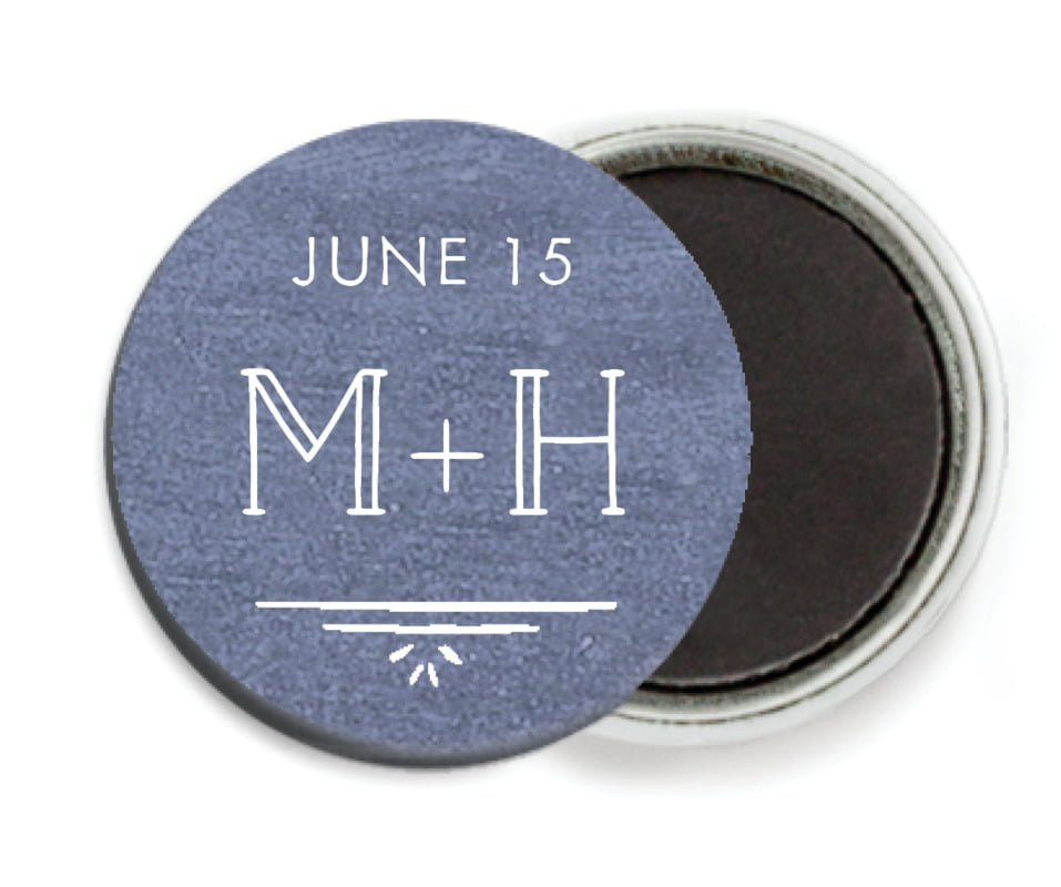 custom button magnets - chalkboard blue - vintage chalkboard (set of 6)