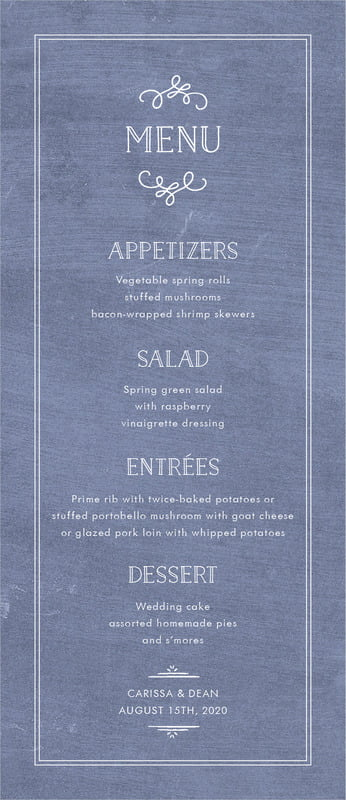 custom menus - chalkboard blue - vintage chalkboard (set of 10)