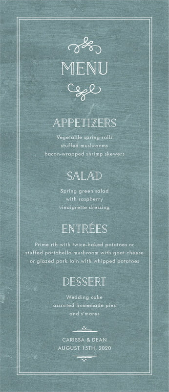 custom menus - chalkboard green - vintage chalkboard (set of 10)