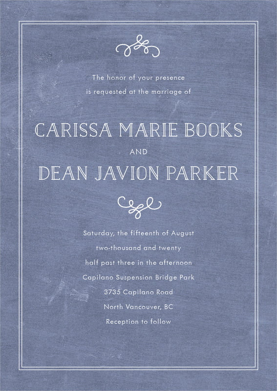 custom invitations - chalkboard blue - vintage chalkboard (set of 10)