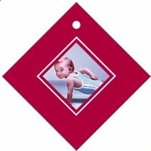 Vida Diamond Hang Tag In Deep Red