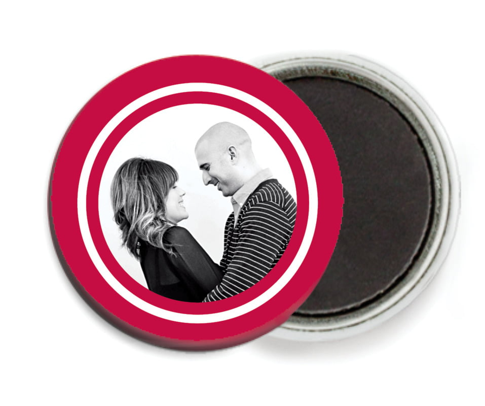 custom button magnets - deep red - vida (set of 6)