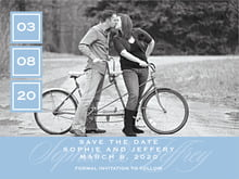 custom save-the-date cards - blue - vida (set of 10)