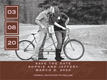 custom save-the-date cards - cocoa & pink - vida (set of 10)