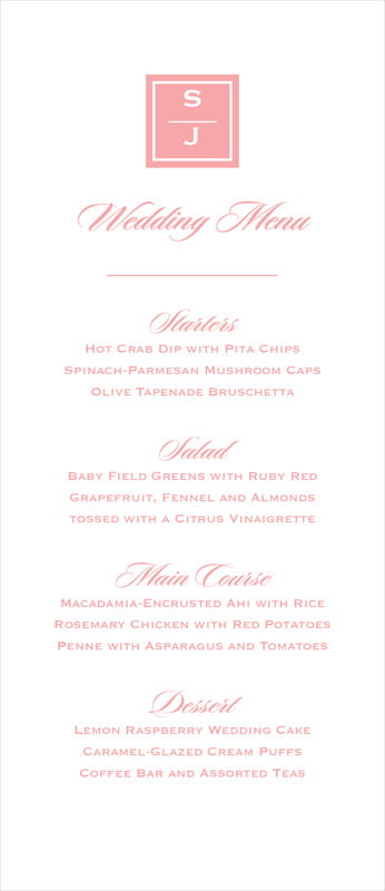 custom menus - grapefruit - vida (set of 10)