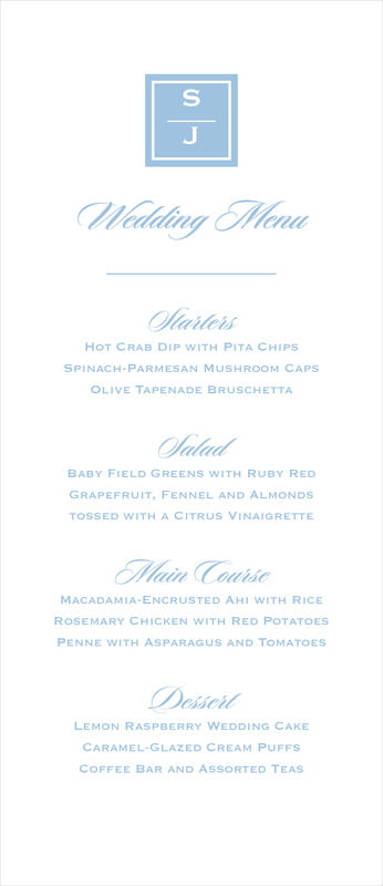 custom menus - blue - vida (set of 10)