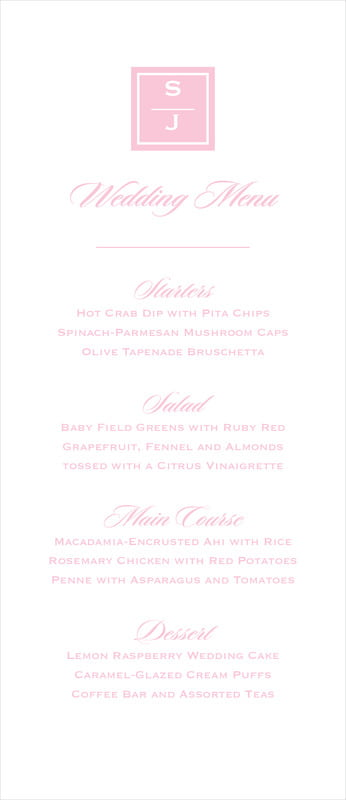 custom menus - pale pink - vida (set of 10)