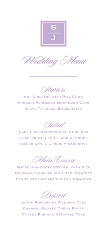 custom menus - lilac - vida (set of 10)