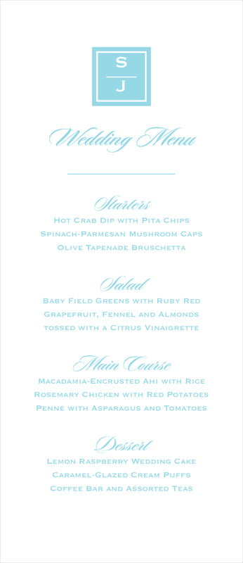 custom menus - bahama blue - vida (set of 10)