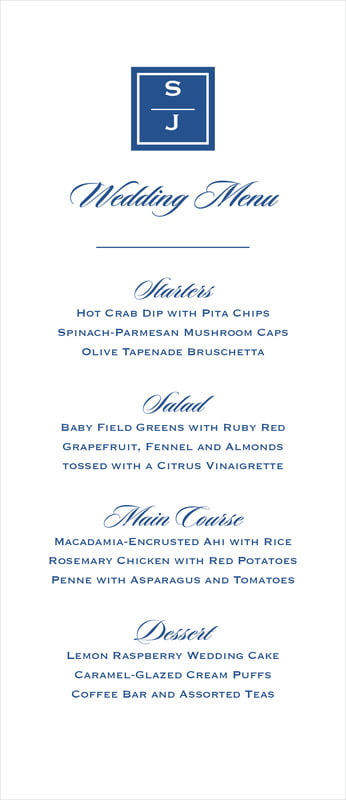 custom menus - deep blue - vida (set of 10)
