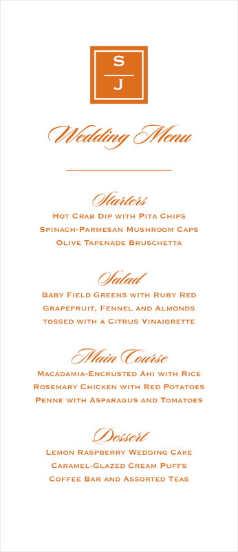 custom menus - spice - vida (set of 10)