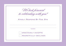 custom response cards - lilac - vida (set of 10)