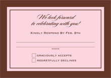 custom response cards - cocoa & pink - vida (set of 10)